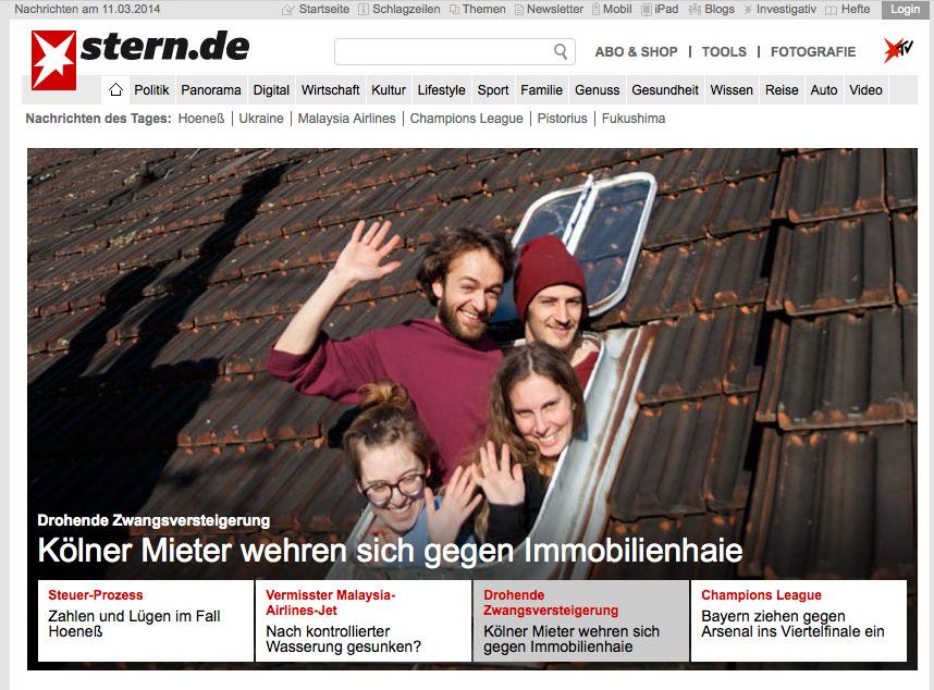 Stern.de Startseite vom 11.03.2014